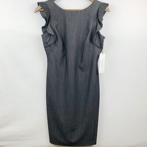 Calvin Klein NWT Ruffle Cap Sleeve Gray Dress - 4